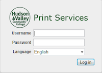 Web Interface login screen