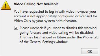 Video calling warning