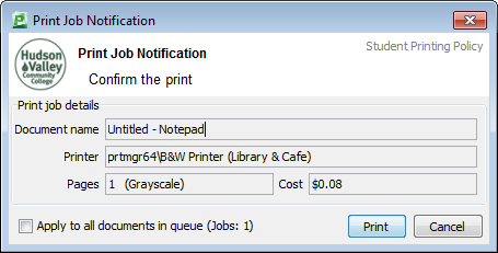 Print confirmation dialog showing document name, selected printer, number of pages, and cost