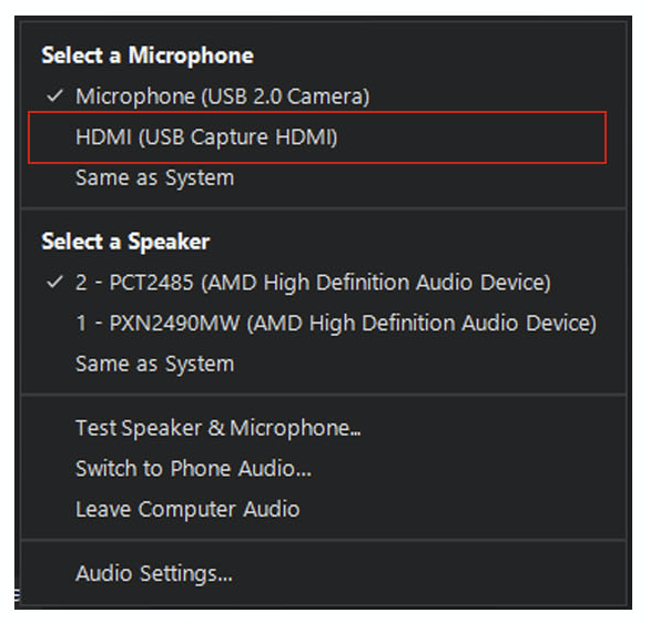 Selecting a Microphone and Speaker Menu