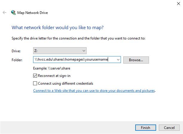 Map Network Drive Screen