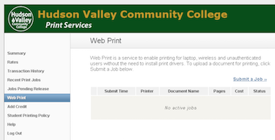 Web Print screen showing any submitted Web Print jobs