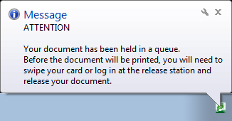 Notification balloon stating document is held for release