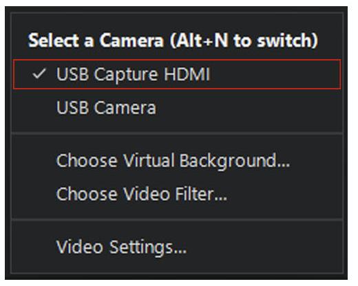 Select a Camera Menu