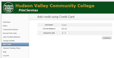 Add credit screen showing username, account balance, and amount of funds to add