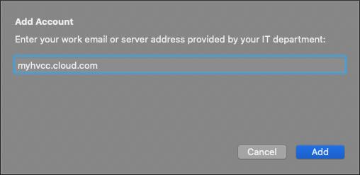 Citrix Workspace server address window